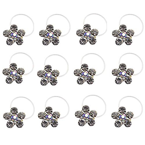 ZAKIA 12pcs Elastic Crystal Toe Ring Mixed Color Wholesale Lot Body Jewelry Pack (style2(Clear))