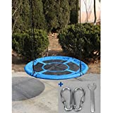 """Dreambeauty Flying Saucer Tree Swing 40"""" Round Swing Set, Adjustable Multi-Strand Ropes, Attaches to Trees or Existing Swing Sets, Giant Large Round Tree Swings for Kids, Children, Adults, Easy Install, Steel Frame (Blue)"""