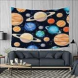 Anniutwo Galaxy Home Decorations for Living Room Bedroom Cute Galaxy Space Art Solar System Planets Mars Mercury Uranus Jupiter Venus Kids Print Wall Tapestry W80 x L60 (inch) Multi