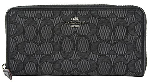 Coach Accordion Zip Wallet in Outline Signature (Black Smoke/Black) - F54633 SVDK6,One Size by Coach