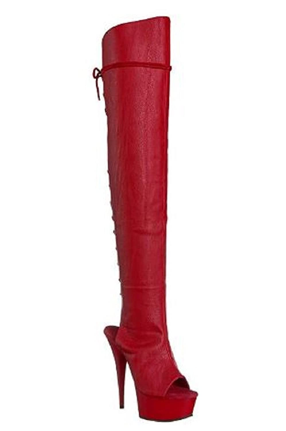 Pleaser Delight-3019 Exotic Pole Dancing, Clubwear, Sexy Thigh High Boot. B01MD1Y93X 9 B(M) US|Red Faux Leather/Red Matte