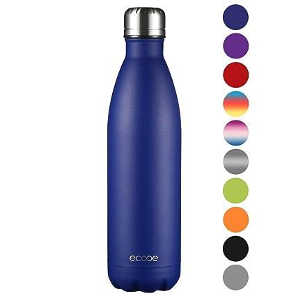Ecooe Botella térmica de acero inoxidable (750 ml) para bebidas frías y calientes (Azul)