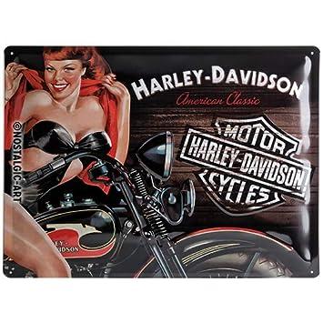 77729655c4cf5c Nostalgic-Art 23223 Harley-Davidson - Biker Babe Red, Blechschild 30x40 cm