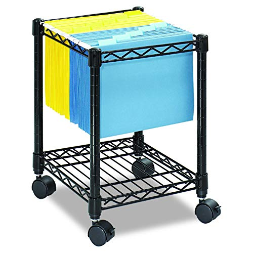 Safco Products Compact  Mobile Letter Size File Cart 5277BL Black, Black Powder Coat Finish, Swivel Wheels for ()