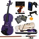Mendini Size 1/2 MV-Purple Solid Wood Violin with Tuner, Lesson Book, Shoulder Rest, Extra Strings, Bow and Case, Metallic Purple