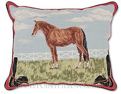 "Handmade 100% Wool Decorative Equestrian Bronco Farm Ranch Cowboy Mustang Horse Kentucky Derby Throw Pillow. 16"" x 20""."