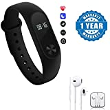 Captcha Intelligence fitness Band with Heart Rate sensor/Pedometer/Sleep Monitoring With Earpod With Mic and Sound Control Headset Compatible With Xiaomi, Lenovo, Apple, Samsung, Sony, Oppo, Gionee, Vivo Smartphones (One Year Warranty)