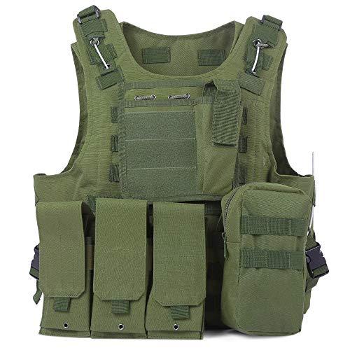 Residen Militaría Chaleco Tactico Porta Placa Militar Sistema Molle Uso Rudo (Verde)