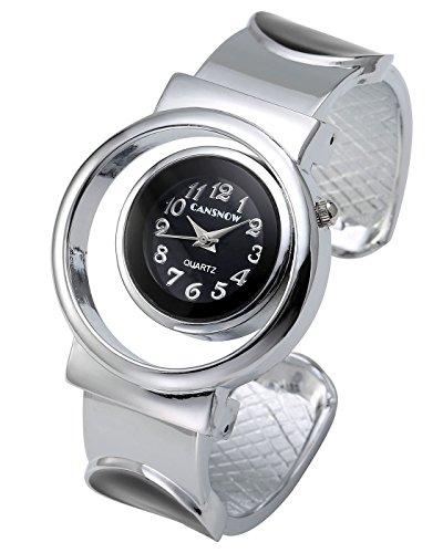 Silver Tone Cuff Watch - Top Plaza Womens Fashion Silver Tone Bangle Cuff Bracelet Analog Quartz Wrist Watch,Unique Hollow Case Design(Black)