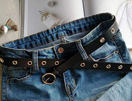 Irypulse Donna Cintura Rivetto Fibbia Lega in pelle Rotonda in Metallo Fibbia Cinghie Moda Occhielli Decorazione Funzionale PU Cinture Adatto per Jeans Pantaloncini Stile Punk Pantaloni Abiti