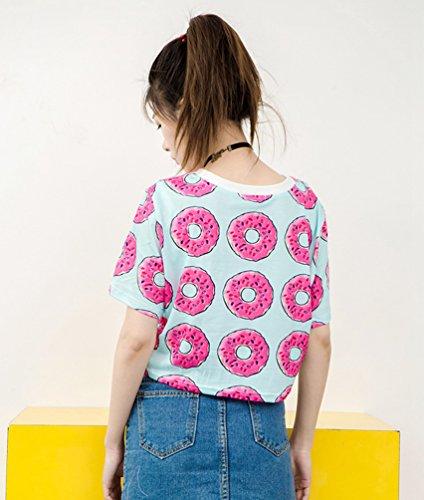 Baymate Mujeres Vintage Impresión Camisetas Manga Corta T Shirt Crop Tops Estilo 1