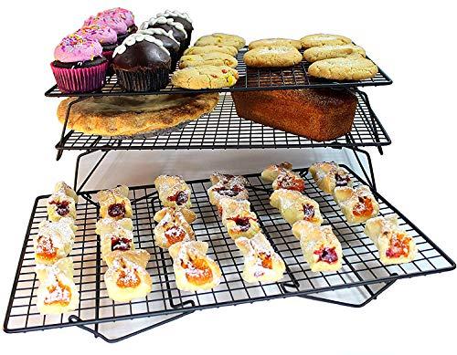 (Stephenie 3 Stackable Baking Cooling Rack - Oven & Dishwasher Safe - Non-Stick - 13-1/2
