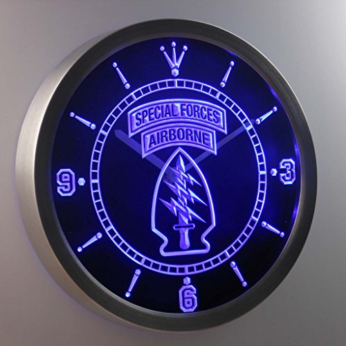 US Army Special Forces Air Borne 3D Neon Sign LED Wall Clock ()