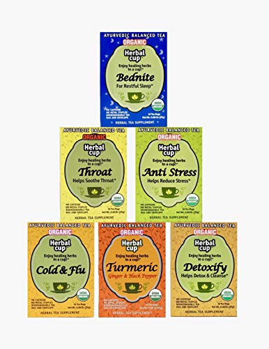 Herbal Cup Organic Caffine Free Tea Assorted Variety Pack Anti Stress -Tea Bednite -Throat- Detoxify -Turmeric Ginger & Black Pepper -Cold & Flu. Each box 16 bags.