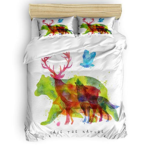 Animal Bedding Duvet Cover 4 Piece Set, Alaska Wild Animals Bears Wolfs Eagles Deers in Abstract Colored Shadow Like Print, Hypoallergenic Microfiber Comforter Cover and 2 Pillow Cases - King