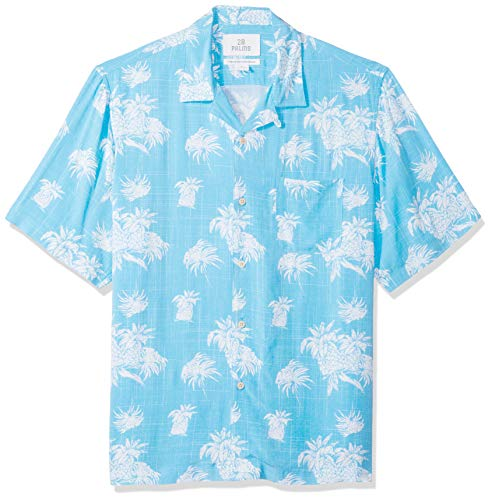 (28 Palms Men's Relaxed-Fit Vintage Washed 100% Rayon Tropical Hawaiian Shirt, Blue/White Palm Tree, X-Small)
