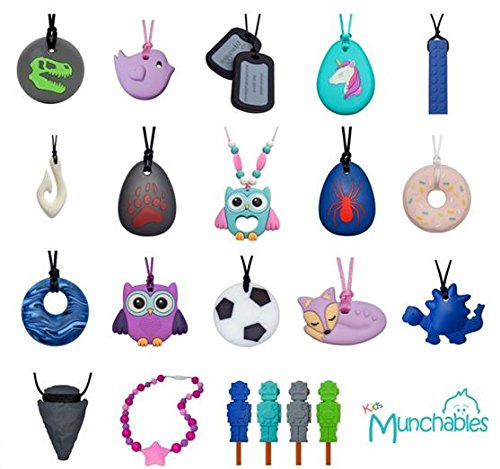 Sensory Oral Motor Aide Chewelry Necklace - Chewy Jewelry for Sensory-Focused Kids with Autism or Special Needs - Calms Kids and Reduces Biting/Chewing - Rainbow Necklace (No Knots) by Munchables Chewelry (Image #3)