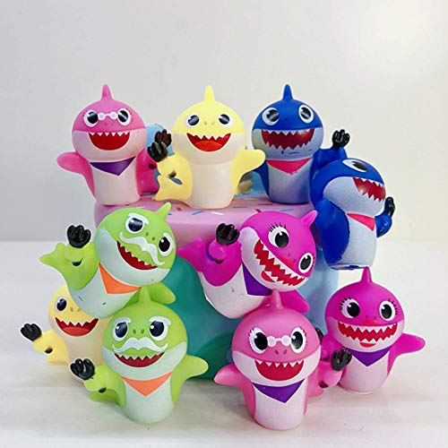 10 pcs Cute Shark Cupcake Toppers (8 colors), Shark Cake Toppers Picks for Kids Birthday Party, Baby Shower Cake Decorations