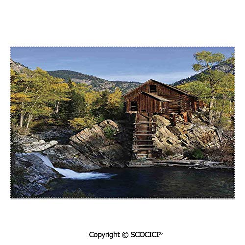 SCOCICI Set of 6 Heat Resistant Non-Slip Table Mats Placemats Secluded Wooden Cabin in Woods River Waterfall Forest Mill Mountain Pine Trees for Dining Kitchen Table Decor]()
