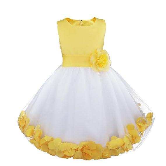 inhzoy Vestido Tutú de Princesa Blanco para Niña Vestido Elegante de Fiesta Boda Novia con Flores Infantil Traje de Bautizo Cumpleaños Noche Ceremonia
