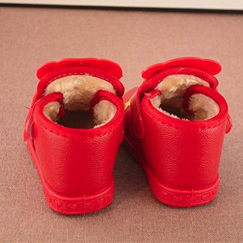 SYY 1-4 Jahre alt Baby Kind Mädchen Jungen Mode Cartoon Brief Leder Boot Warme Schuhe Sneake Rot