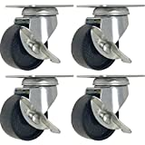 4 All Steel Swivel Plate Caster Wheels w Brake Lock Heavy Duty High-gauge Steel (2'' SWIVEL CASTER With Brake)