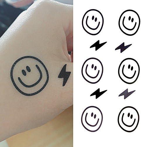 Oottati Tatuajes Temporales Cara Sonriente Mano Rayo (Juego De 2 ...