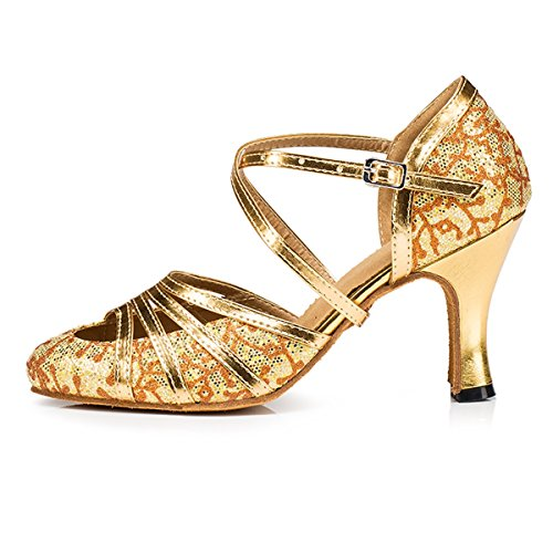Miyoopark Kvinna Cross Strap Blommig Glitter Latin Salsa Prestanda Dansskor Bröllop Pumpar Guld 8cm Klack