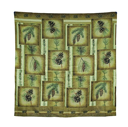 Zeckos Tranquil Pines Rustic Fabric Patchwork Pine Cone Shower Curtain 70 X 70 Inch (Pine Cone Fabric Shower Curtain)