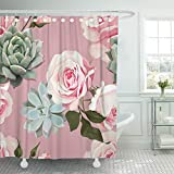 Dusty Pink Shower Curtain Emvency Shower Curtain Waterproof Adjustable Polyester Fabric Green Spring Succulents and Roses of Floral with Dusty Pink Flowered Tropical 72 x 72 Inches Set with Hooks for Bathroom