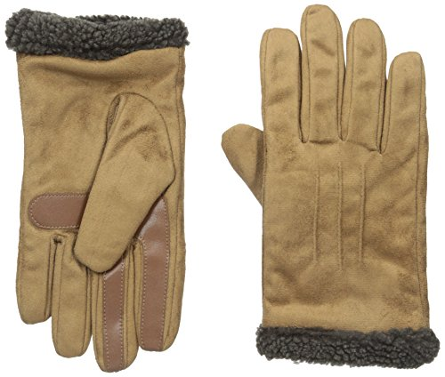 - Isotoner Men's Smartouch Melange Tweed Brushed Microfiber Glove with Knit Cuff, Luggage, Medium