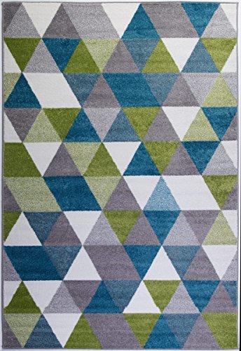 Ladole Rugs Boston Collection Geometric Pattern Empire Triangles Area Rug Carpet in Green Blue White, 7x10 (6'5