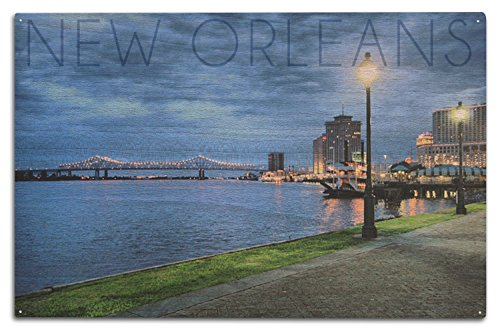 New Orleans, Louisiana - City and Bridge at Night (10x15 Wood Wall Sign, Wall Decor Ready to Hang)