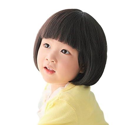Rise World Wig Moda Negro Pelucas Recta Para Niños Niño Plana Bangs Sintético Bob Peluca De