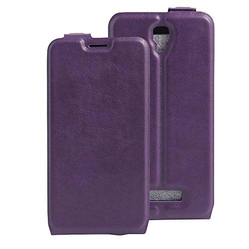 Para ZTE Blade L5 / L5 Plus Caso compacto de piel PU, arriba-abajo piel abierta PU Funda de piel con ranura para tarjeta y función de protección completa con cierre magnético Caja a prueba de golpes p Púrpura