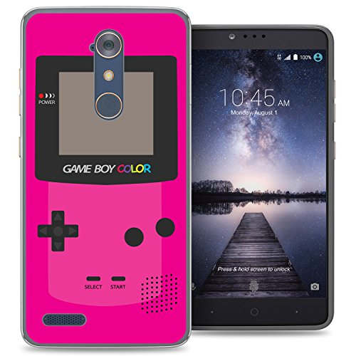 ZTE Blade X Max case - [GameBoy Color Magenta] (Crystal Clear) PaletteShield Soft Flexible TPU gel skin phone cover (fit ZTE Blade X Max/ Max 3/ Max XL/ Zmax Pro)