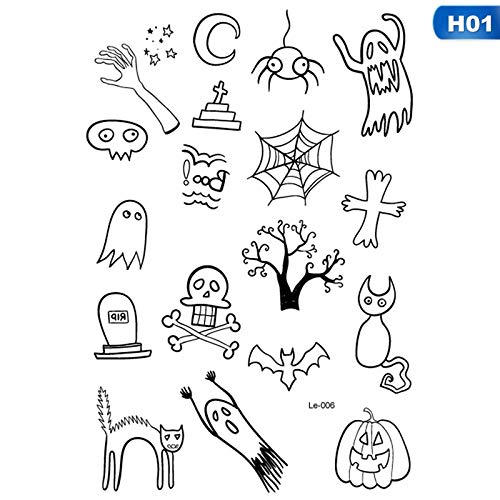 KathShop Halloween Luminous Tattoo Ghost Taty for Kids Fake Tattoo Witch Glowing in Dark Waterproof Temporary Tattoo Stickers