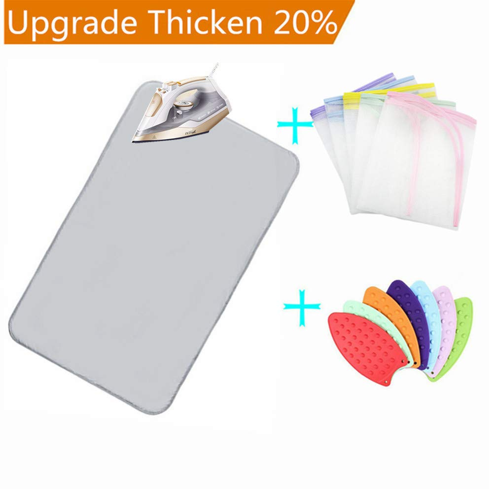 Nnty Gluck Upgraded Thick Ironing Blanket,Portable Ironing Mat with Silicone Pad,and Press Ironing Cloth Mesh,Heat Resistant Ironing Pad Cover for Washer,Dryer,Table Top,Countertop,Iron Anywhere