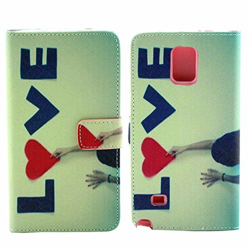Ai Nisi For Note 4 Case,PU Leather With Stand Credit ID Card Slots / Money Pockets Design Case for Samsung Galaxy Note 4 - LOVE Hearts