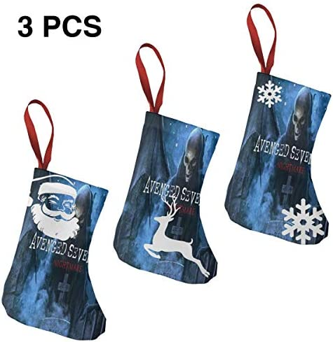 クリスマスの日の靴下 (ソックス3個)クリスマスデコレーションソックス ロックミュージックAvenged Sevenfold クリスマス、ハロウィン 家庭用、ショッピングモール用、お祝いの雰囲気を加える 人気を高める、販売、プロモーション、年次式
