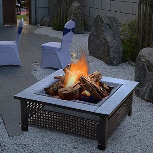 HIZLJJ 32po Brasier extérieur en métal carré Firepit Bois Cour arrière Patio Jardin Plages Camping Pique-Nique Bonfire Poêle avec écran Spark et Couverture