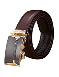 Xhtang Men's Ratchet Belt Automatic Buckle Genuine Leather belt 35mm Wide S (Waist:30-43, Brown)