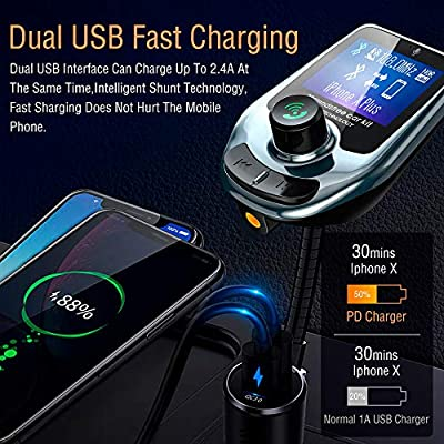 Wireless Audio Adapter Receiver Fast Charge Dual USB Ports Black Arsvita Bluetooth Car FM Transmitter Hands-Free Car Kit with 1.15 Screen