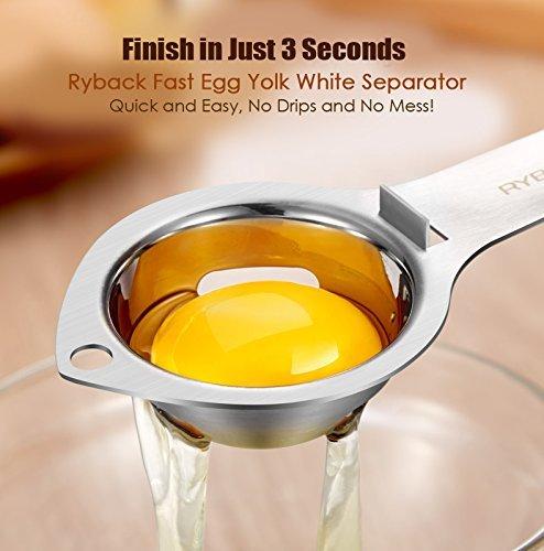RYBACK Stainless Steel Egg White Yolk Filter Separator Cooking Tool Dishwasher Safe Chef Kitchen Gadget