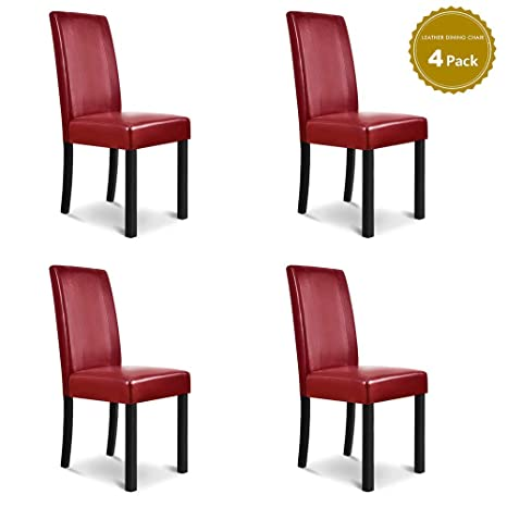 Brilliant Life Carver Modern Set Of 4 Leather Dining Kitchen Chairs With Pine Wood Legs Armless Chair High Back Seat Kitchen Dining Room Furniture 4 Unemploymentrelief Wooden Chair Designs For Living Room Unemploymentrelieforg