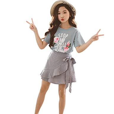 Baby Girl Denim Skirt with Striped Short Sleeved Top and Headband Set