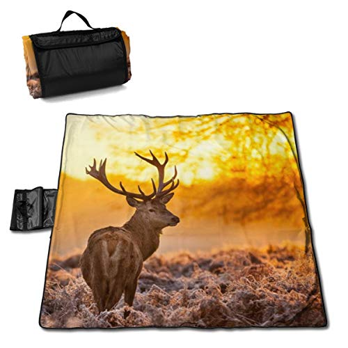 (Reindeer Lights Tree Sand Free Beach Mat Blanket Sand Proof Magic Sandless Sand Dirt & Dust Disappear Fast Dry Easy to Clean Waterproof Rug Avoid Sand Dirt and Grass)