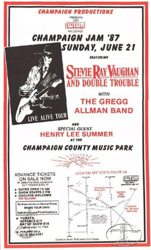 Stevie Ray Vaughan 1987 Concert Poster Allman Brothers Band from Right Brain/Left Brain