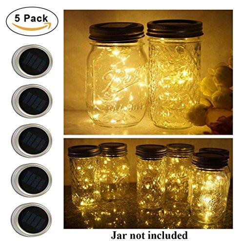 5 Pack Mason Jar Lights, 10 LED Solar Warm White Fairy String Lights Lids Insert for Garden Deck Patio Party Wedding Christmas Decorative Lighting Fit for Regular Mouth Jars (Warm White)