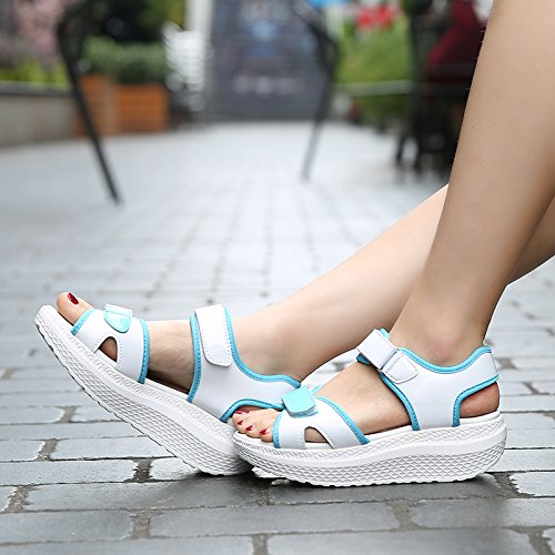 Xing Lin Ladies Sandals New Thick Sandals Women Summer Slope Shoes Casual Sports Sandals Shakes Shoes Women 1705-1 white moon IDIKT